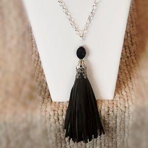 tassel necklace w/ earrings  (handmade by me)